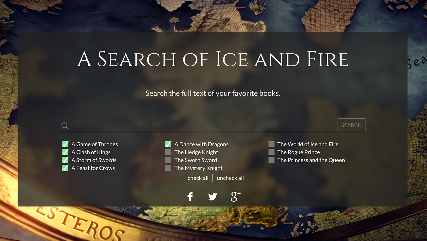 A Search of Ice and Fire